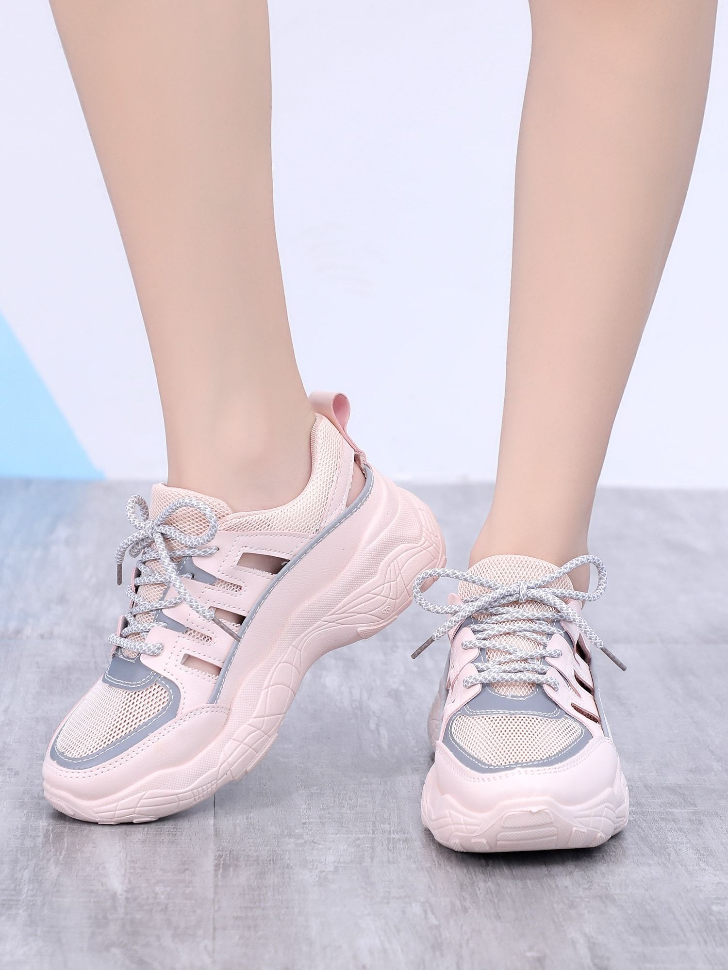 Cut Out Detail Mesh Panel Trainers
