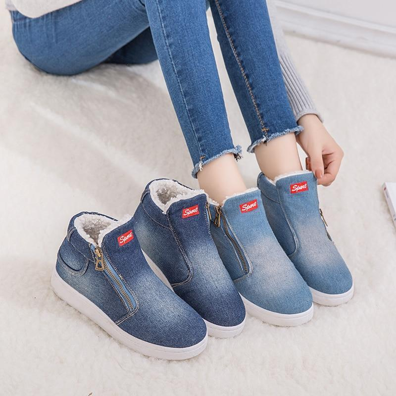 2019 new Winter Shoes denim boots for women classic snow boots