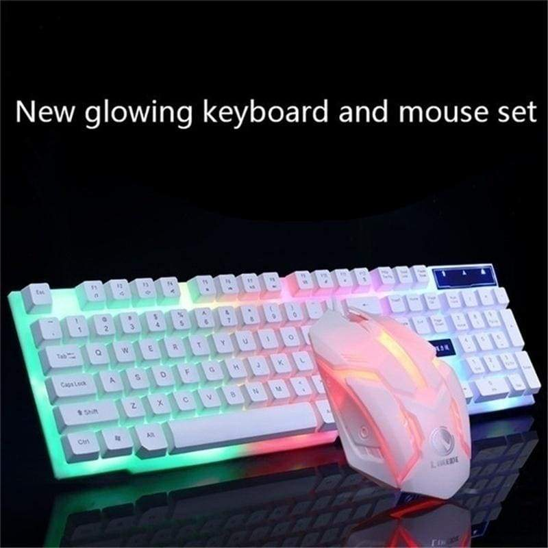 Game Luminous Wired USB Mouse with/without Keyboard Suit with Rainbow Backlight LED Lights Mechanical Keyboard Gaming Mouse for Gamers