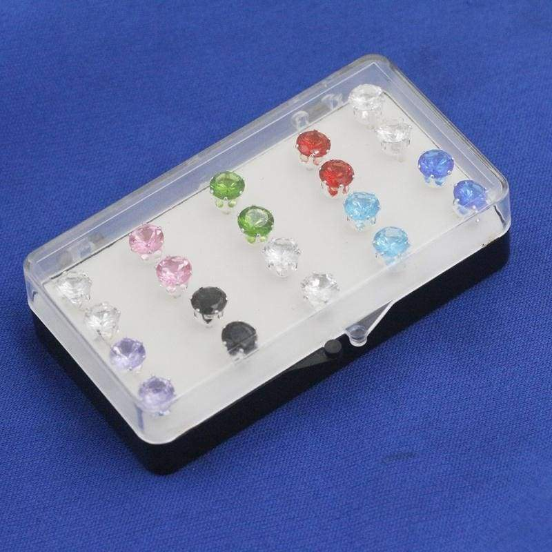 20 pcs 925 Sterling Silver Round Multicolor Cubic Zirconia Ear Studs Earrings 6mm 8mm (with Exquisite Box)
