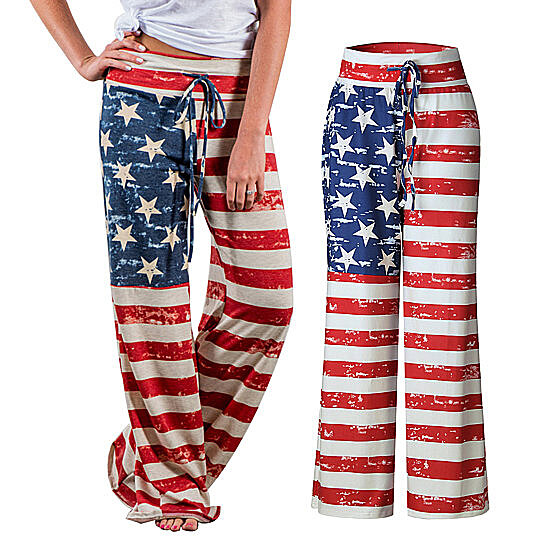 Arosetop American Flag Clothing Womens/Mens Casual Leg Pajama Pants
