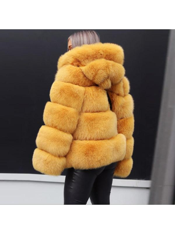 Casual Modest Outdoor Statement Faux Fur Long Sleeve Plain Overcoat