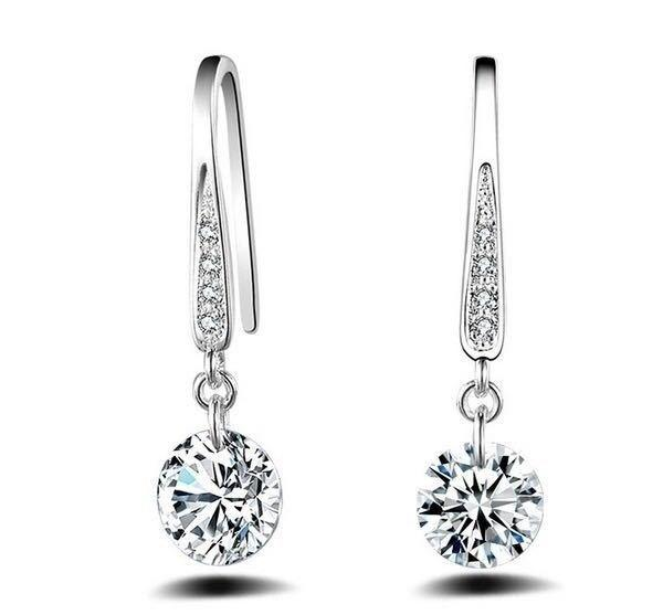 Exquisite Earrings Fashion Jewelry 925 Sterling Silver Jewelry Natural Sapphire Gemstones Birthstone Bride Princess Wedding Engagement Strange Earring (Color: White)