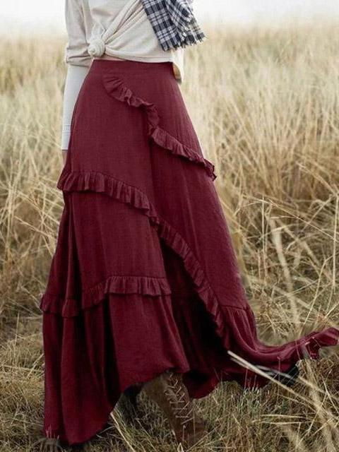 High Waist Long Frill Swing Holiday Maxi Skirts