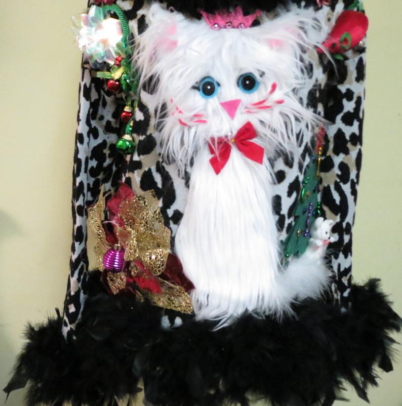 🔥Hot Sale🔥Darling & Cute Fuzzy Furry Kitty Cat Tacky Ugly Christmas Sweater