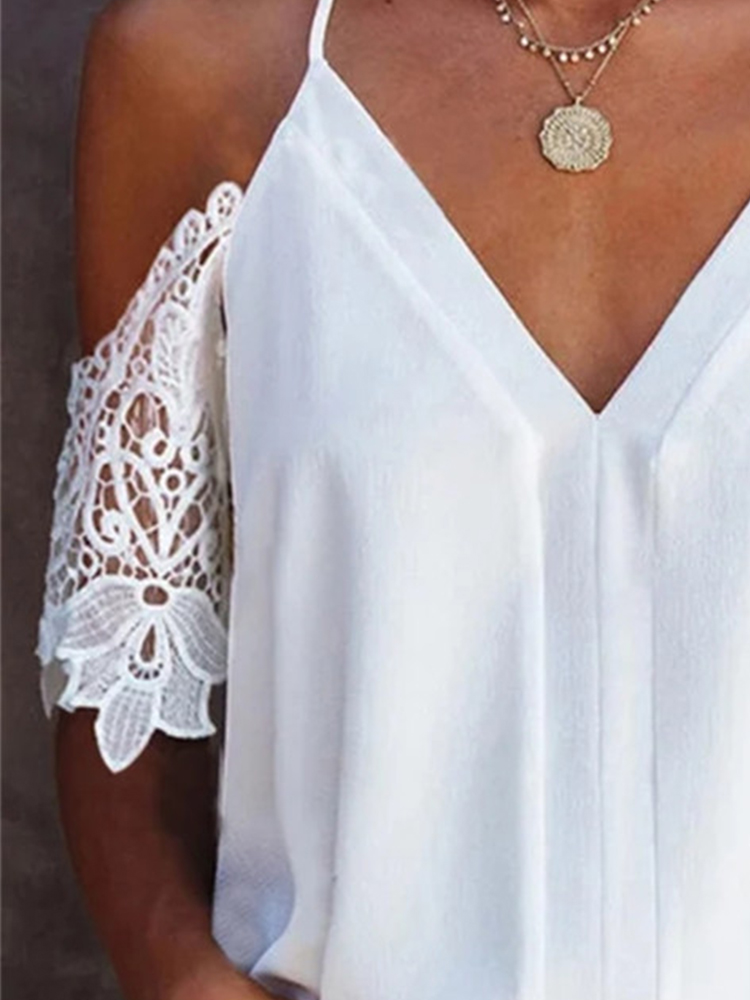 V-neck Lace Sleeve Top
