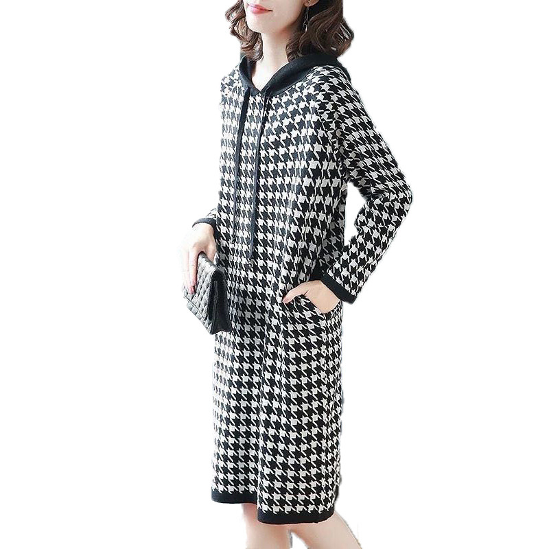 New long-sleeved houndstooth loose dress