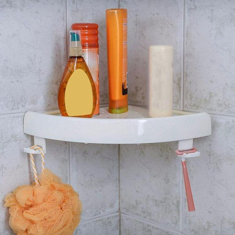 Triangle Wall Corner Storage Mount with Hooks