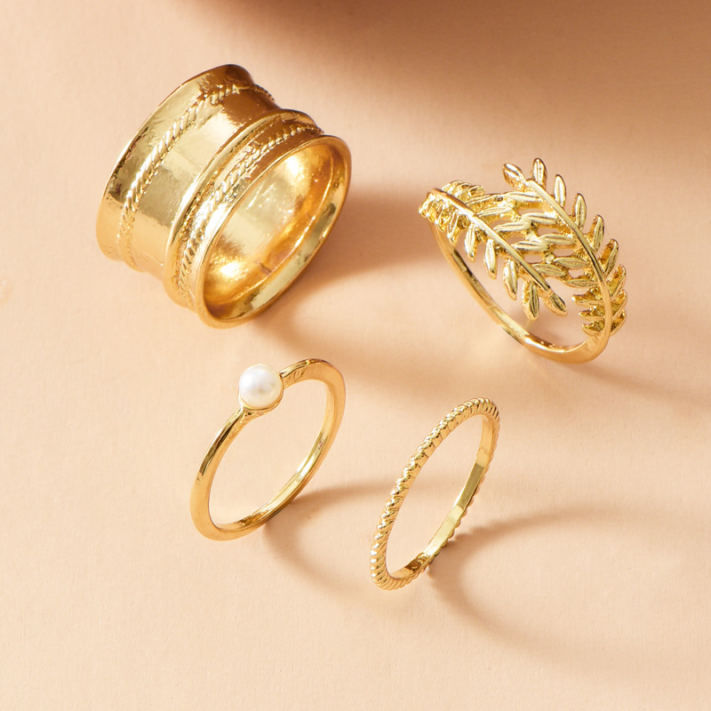 Gold-plated Leaf Pearl Ring Set Ring