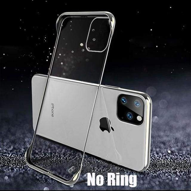 Plating Transparant Frameless Hard PC Cover Finger Ring  Ring Color Random ) For iPhone 11 Pro MAX/11 Pro /11/XS MAX/XR/XS