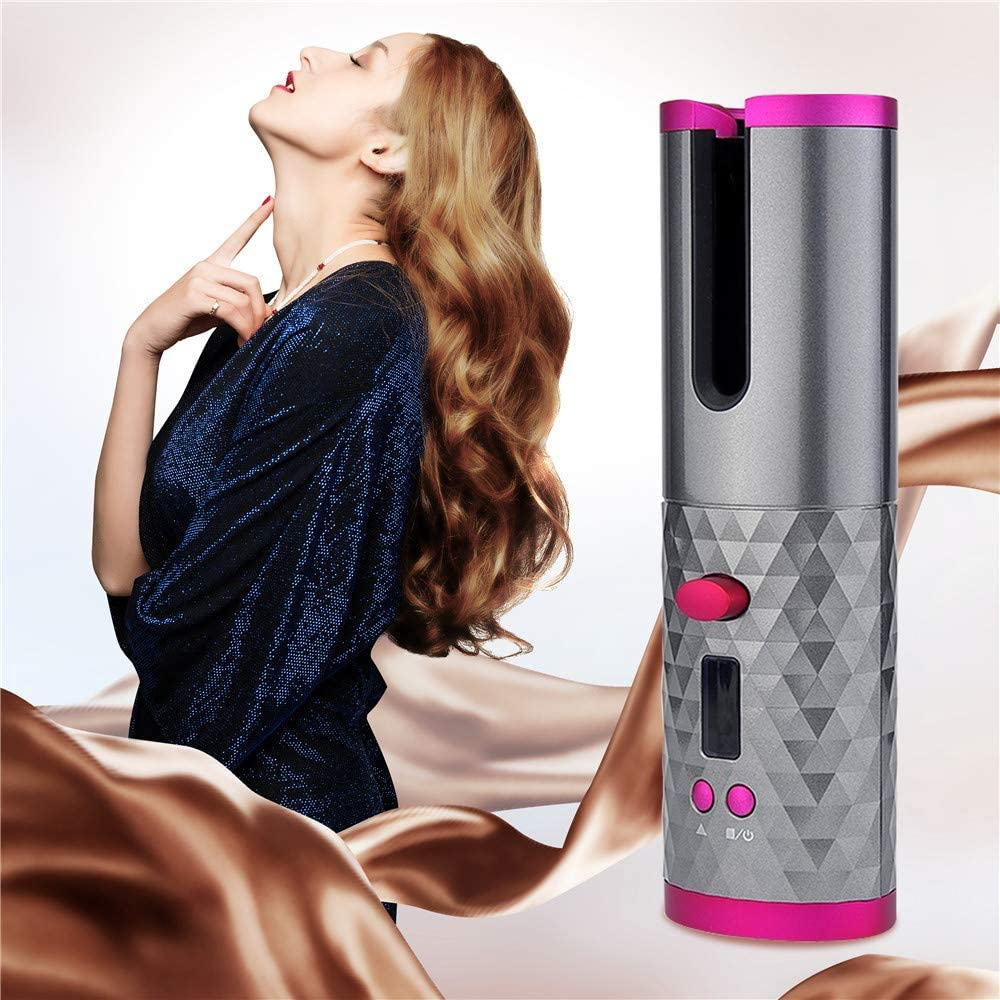 🔥HOT SALE🔥Wireless Automatic Hair Curler Rotating USB Charging Timer LCD Digital Display