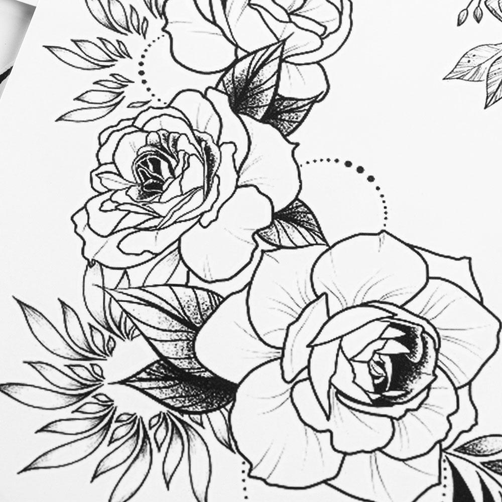 Women Waterproof Body Art Black Rose Girl arm tatto Temporary tattoo sticker Transfer sticker Flower