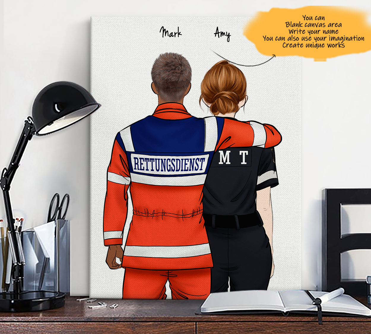 He is My Friend! Hand Draw Custom Canvas-Print Gift AmbulanceDriverGermany-Dark&EMT