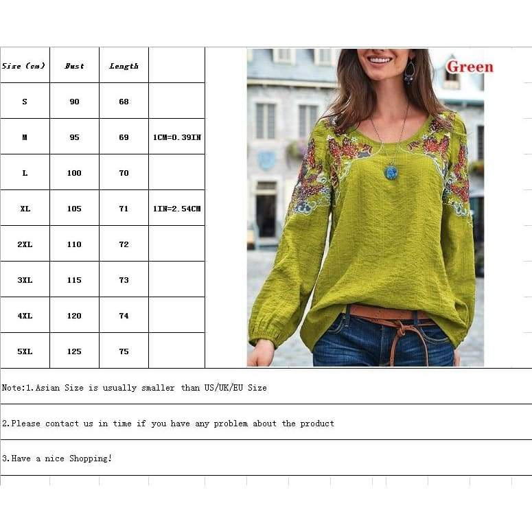 Women Wear Embroidered Blouses Autnmn V Neck Long Sleeved Shirts Plus Size Printed Casual Loose Tops