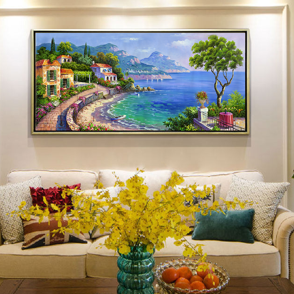 Hand-painted large seaside city architecture landscape canvas abstract oil painting art decoration wall oil painting art