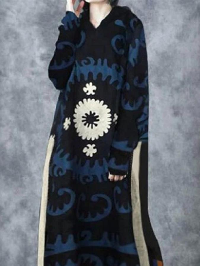 Blue Hoodie Abstract Floral-Print Casual Dresses