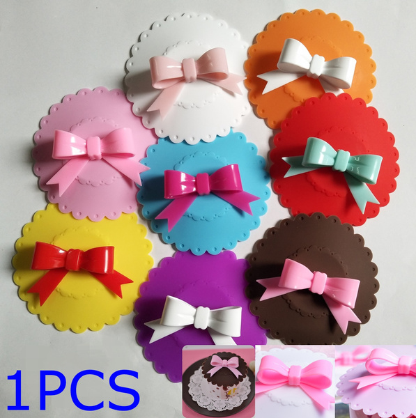 10.5cm Cute Bowknot Bow Silicon Anti-dust Mug Cap Cup Glass Lid Leakproof Cover Multicolor Coffee Mug Suction