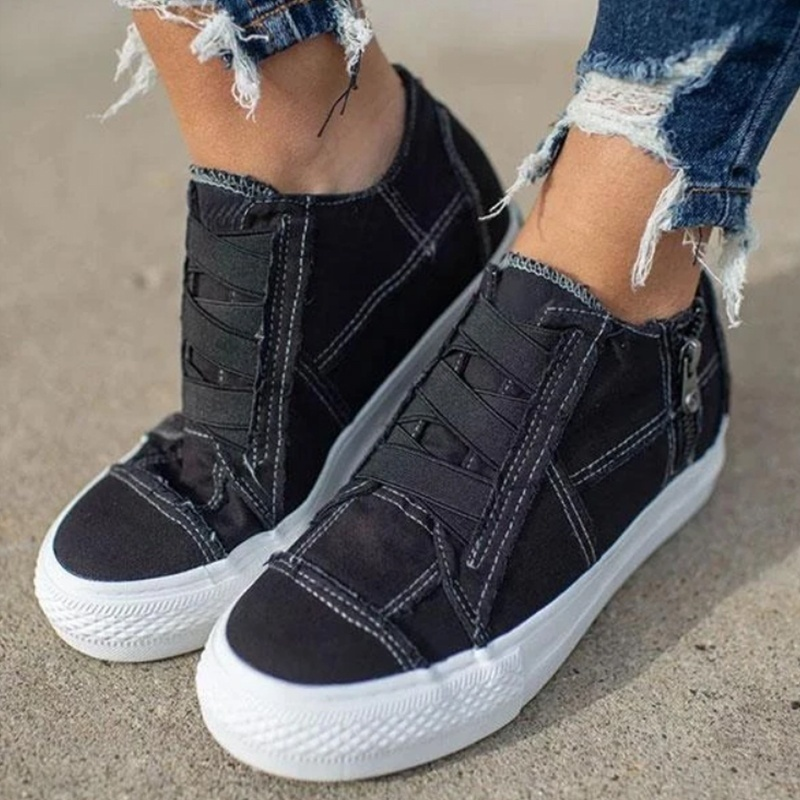 Women's Comfortable Flat Student Shoes Low Heel All Season Shoes Female Canvas Single Shoes Casual Sneakers Shoes Large Size 35-43