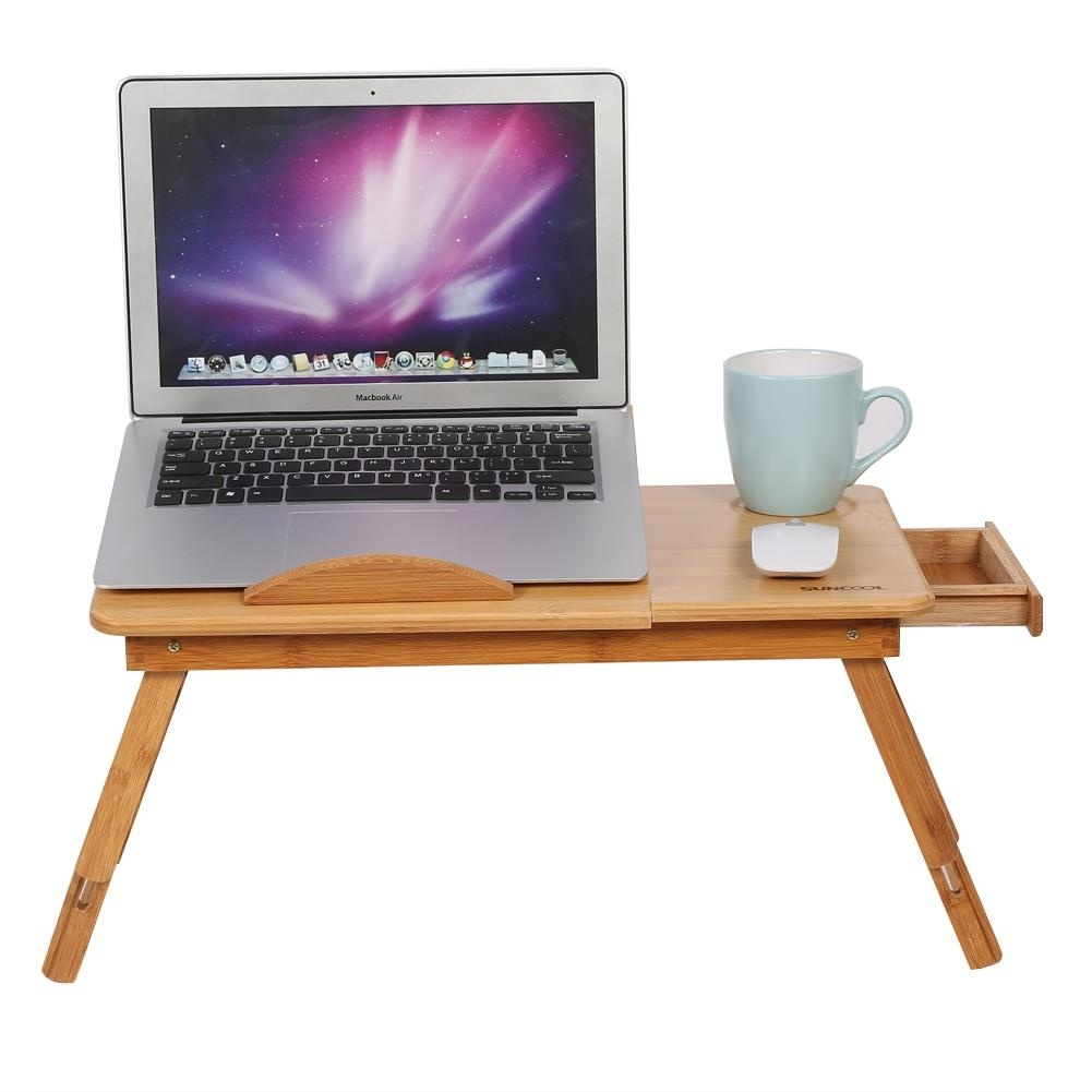 2 Style Adjustable Folding Bamboo Rack Shelf Dormitory Laptop Table Bed Lap Desk Portable Book Reading Tray Stand