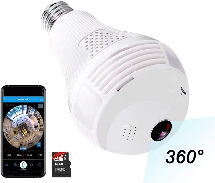 【🔥Hot Sale🔥】Light Bulb Camera 960P 1.3MP WiFi FishEye 360° Wireless Security IP Panoramic