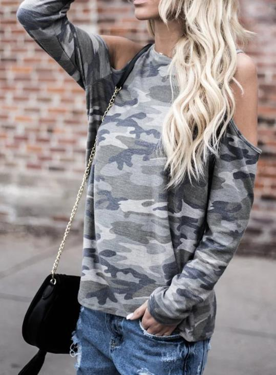 Camouflage Casual Green Cold Shoulder Long Sleeve Cotton T-Shirt