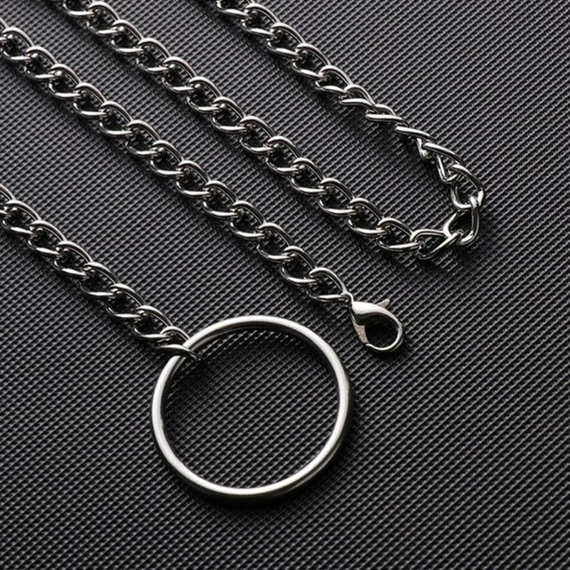 Simple Punk Gothic Silver Round Choker Exaggerated Rock Adjustable Long Metal Chain Hip Hop Couple Collar Necklace