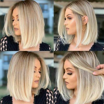 Blonde Wigs For Black Women Lace Front Platinum Blonde Ombre Body Wave Wig Short Best Quality Lace Wigs Honey Blonde Short Hair