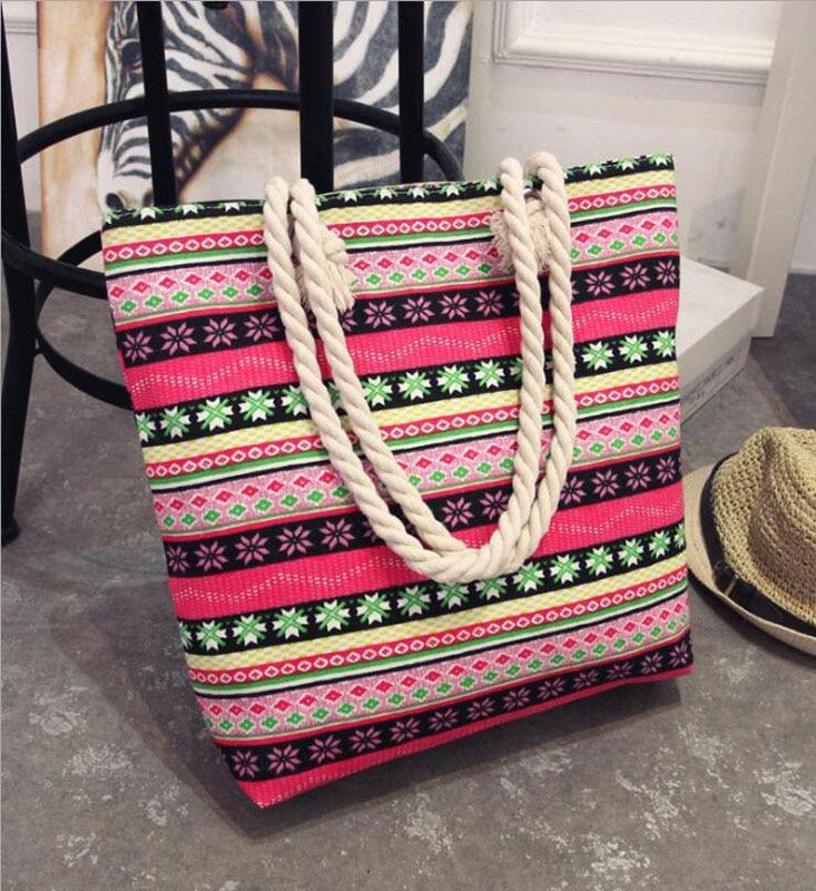 Casual Flower Printing Handbags For Beach Large Capacity Summer Bags