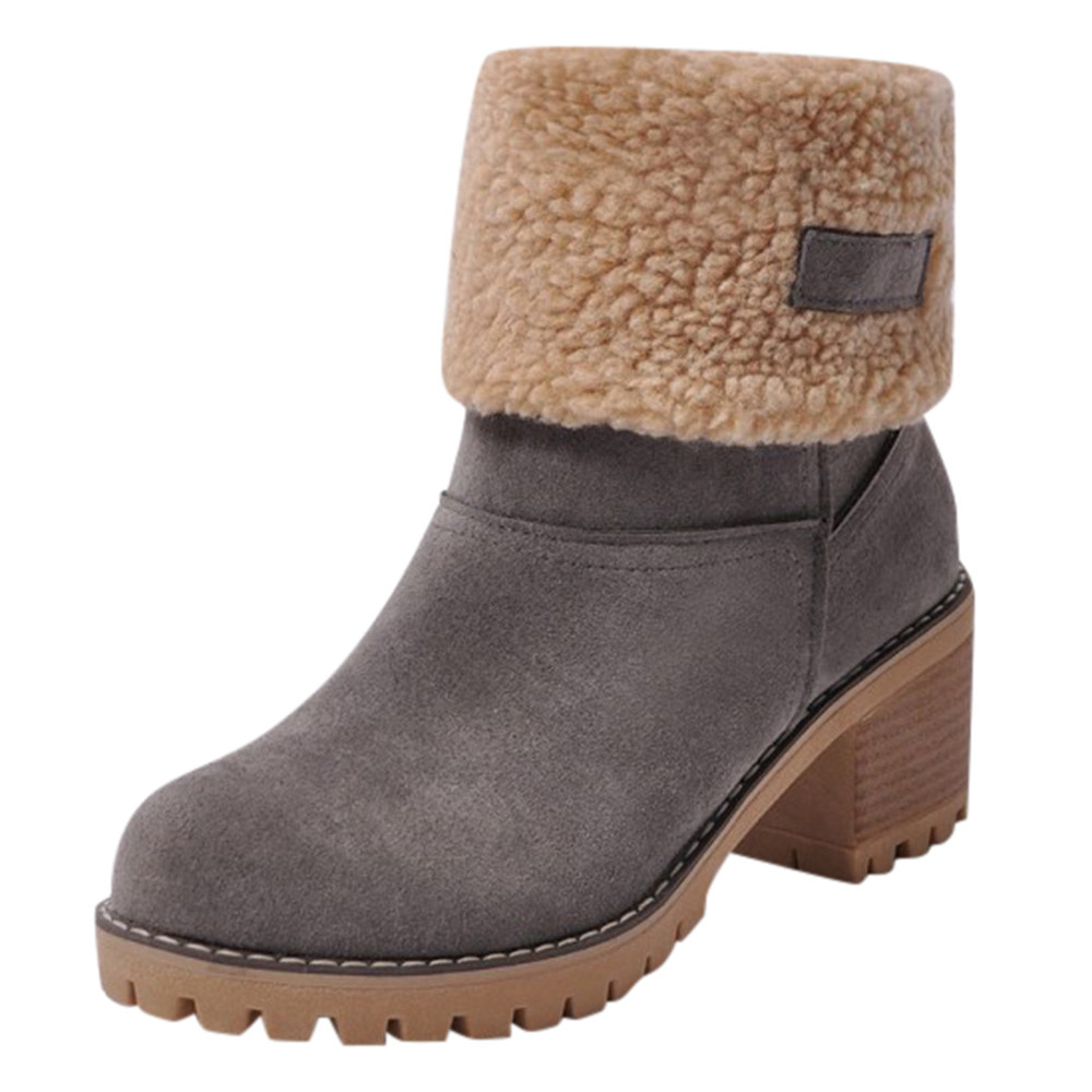 Women's comfortable and warm thick heel mid-calf boots snow boots