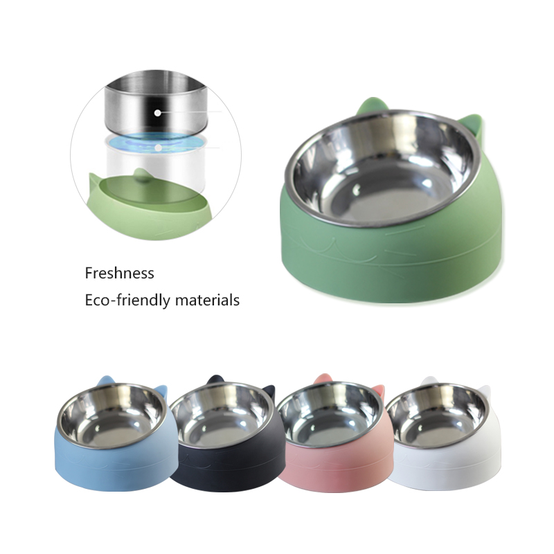 Pet Cat Bowl Stainless Steel 15 Degrees Tilted Safeguard Neck Dog Cat Feeder