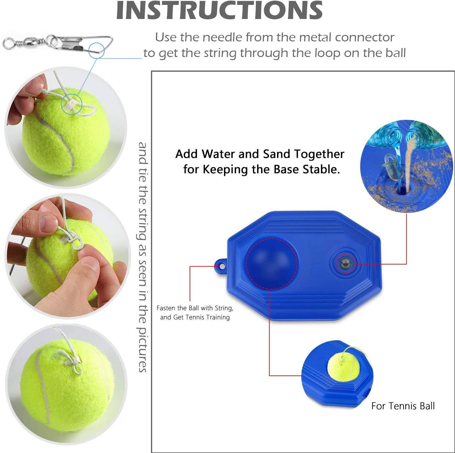 Single Player Rebound Tennis Training Equipment  for Beginners/Kids/Adults' Self-Study Practice