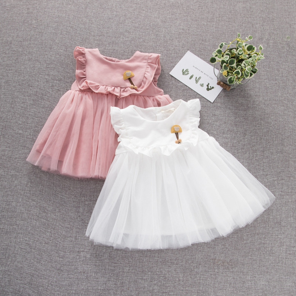 Toddler Baby Girl Dresses Lovely Baby Girls Princess Skirt Pure Cotton Yarn Dress