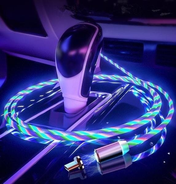LED Glow mobile magnetic USB cable for iPhone Xs Max Magnet Micro USB C cable for Xiaomi Huawei's Samsung Galaxy S9 S8 fast charger portable car charging cable