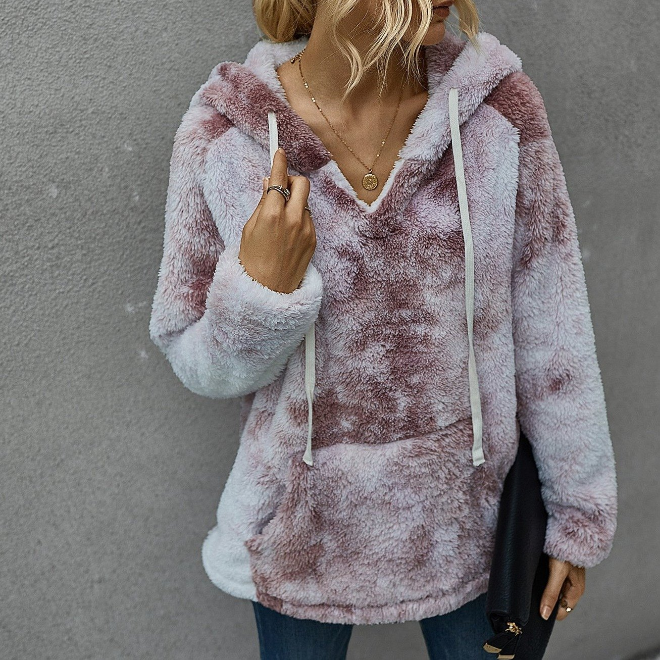 Tie dye fuzzy hooded sweater winter warm pullover chunky sweater