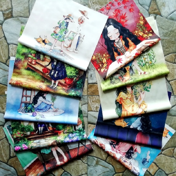 Forest Girl Silk positioning cloth Handmade DIY Fabric for needlework  Patchwork accessories (Size: 29*50cm)