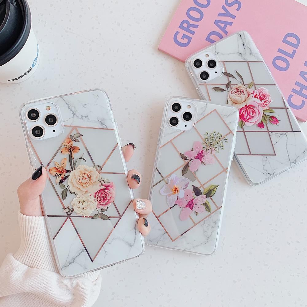 Marble Electroplated Flowers Case