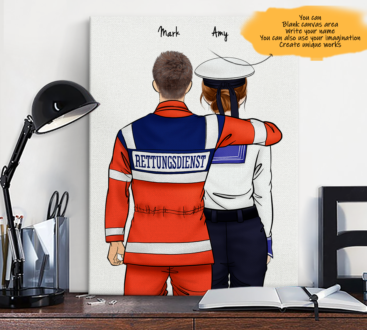 He is My Friend! Hand Draw Custom Canvas-Print Gift AmbulanceDriverGermany-Light&Navy