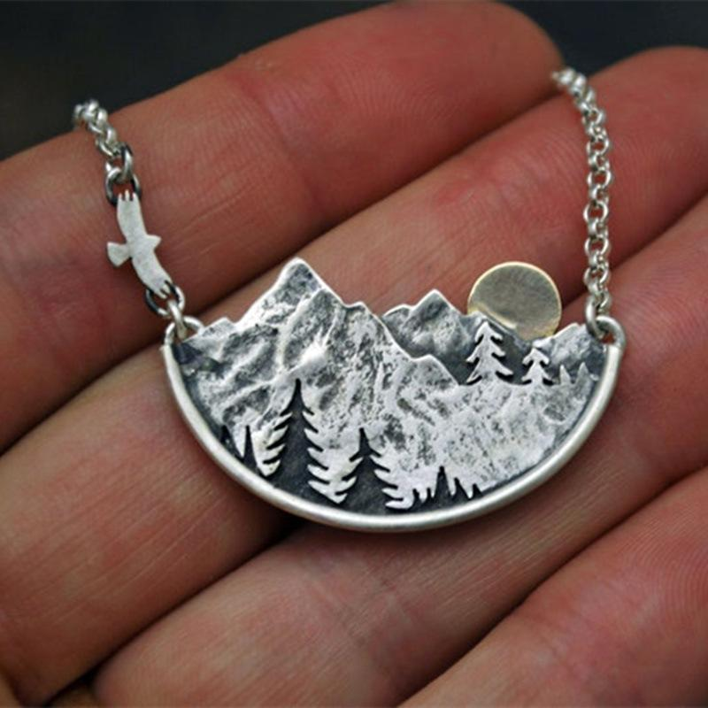 Wandering River Valley Sunset Natural Silver Necklace