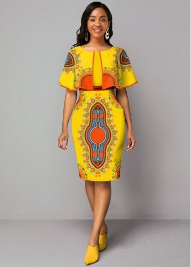 2020 Women Dress Casual Dress Print Kitenge Designs For Ladies Business Casual Outfits With Leggings