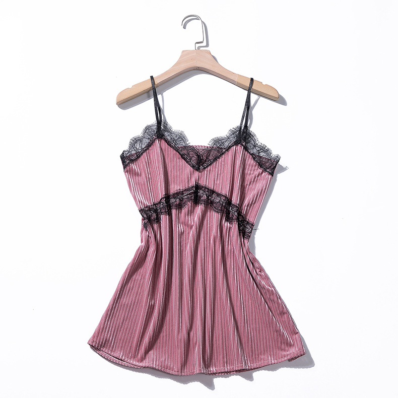 Autumn and winter sexy with chest pad suspenders nightgown four-piece suit thick Korean velvet long-sleeved pajamas
