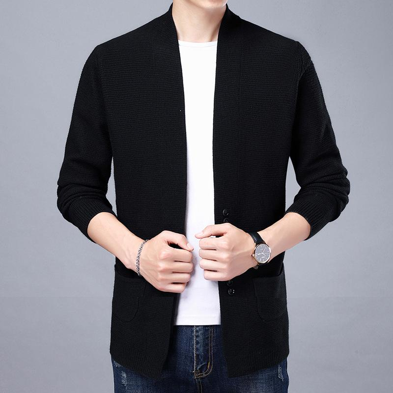 Spring-autumn thin-styled knitted male sweater coat