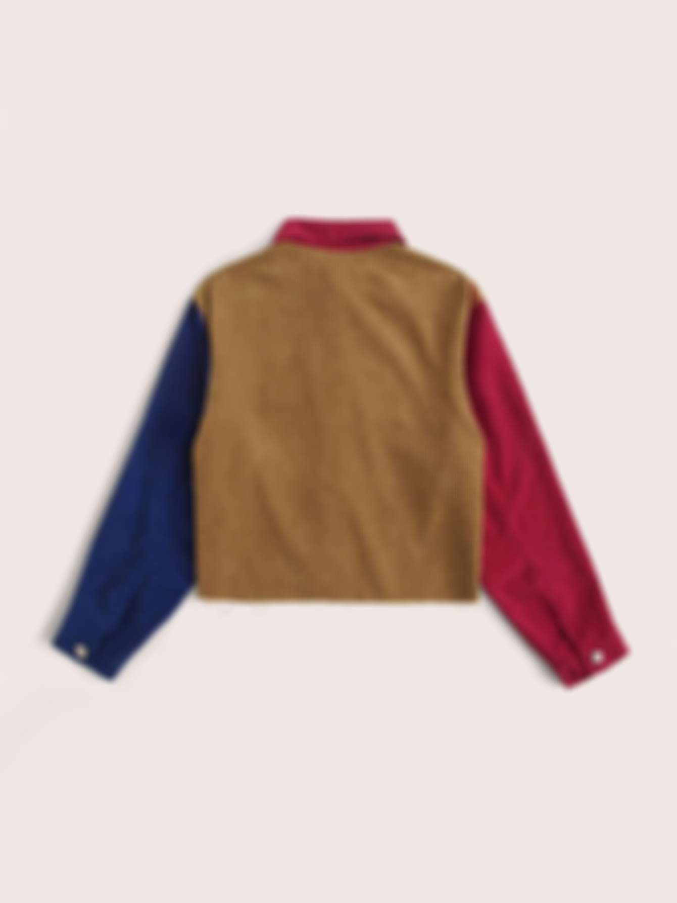 SHEIN Flap Detail Colorblock Corduroy Jacket
