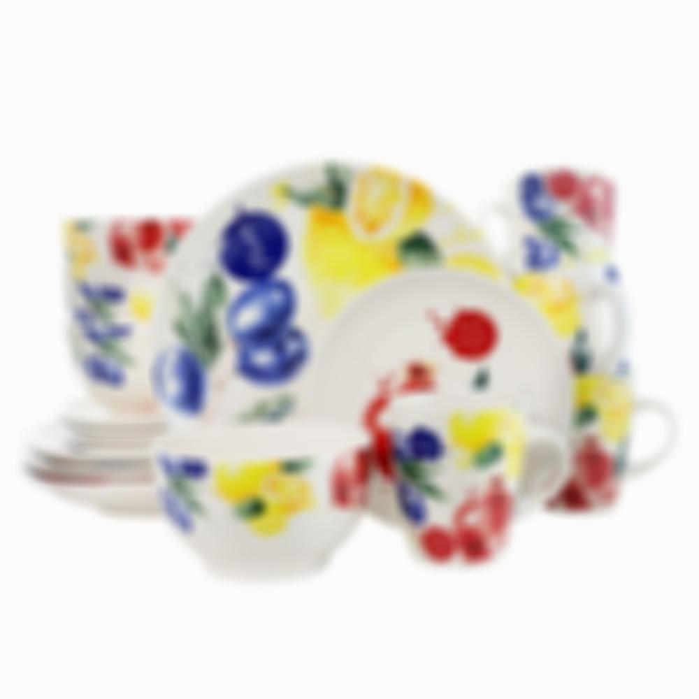 Elamas Tuscan Amore 16 Piece Luxury Dinnerware Set with Complete Place Settings
