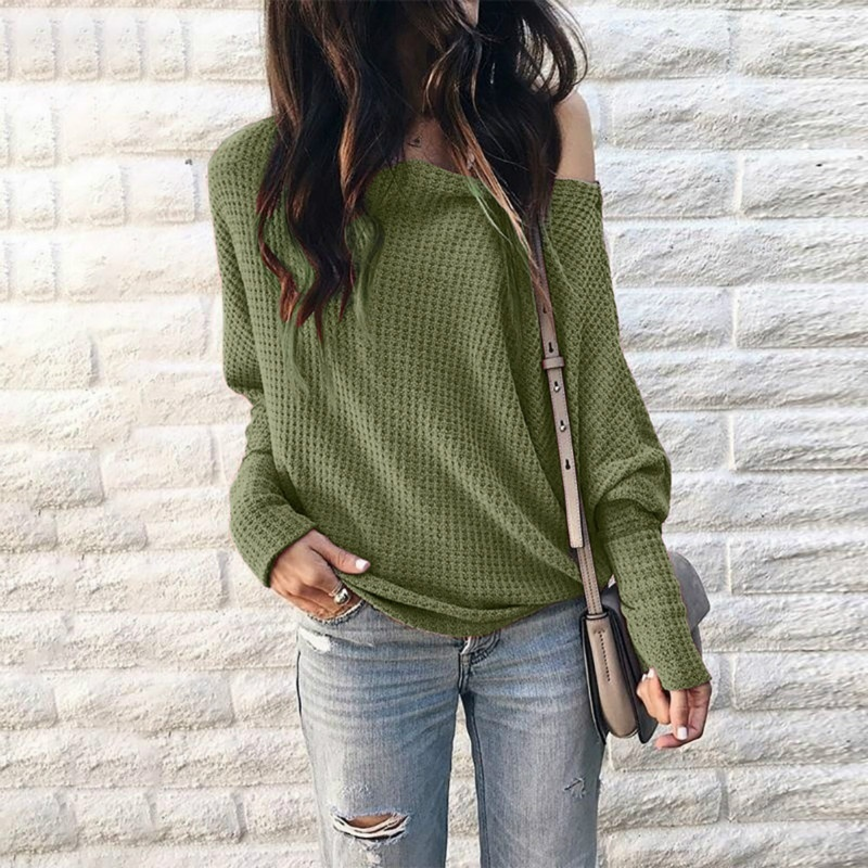 Women Off the Shoulder Sweater Lantern Sleeve T Shirt Bat Top