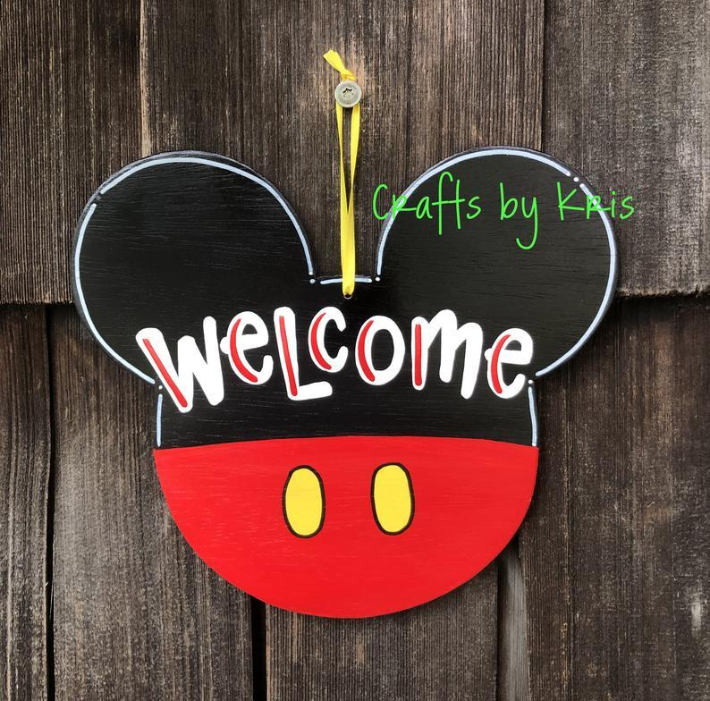 Mickey Mouse Welcome hand-painted hanging wood door hanger sign