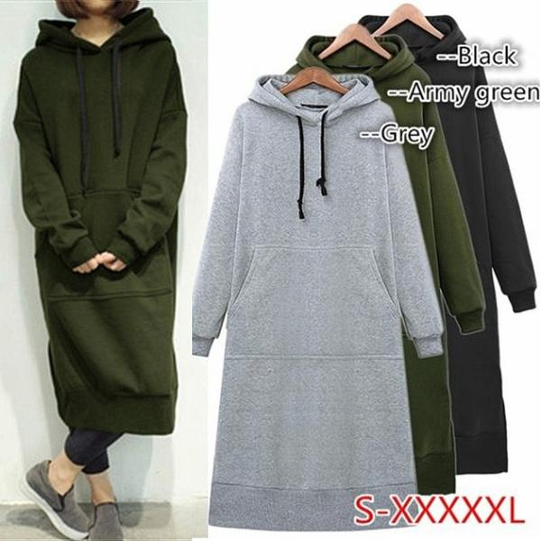 Women Casual Long Hooded Pullovers