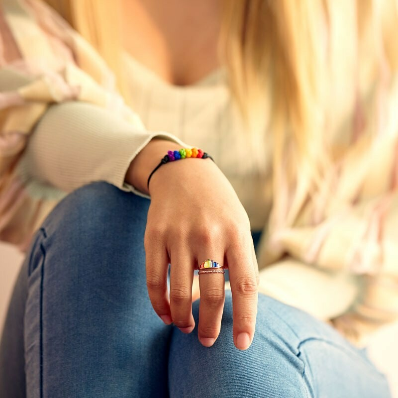 S925 Double Band  Rainbow Ring(ADJUSTABLE SIZE 5-12)