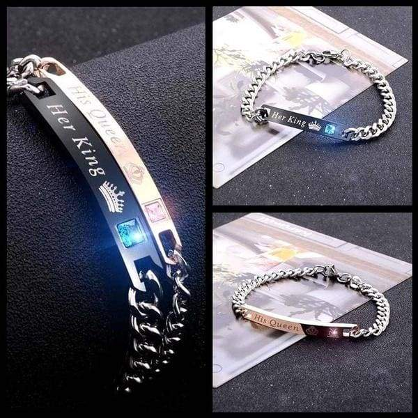 Her King His Queen Couple Bracelets Stainless Steel Crytal Crown Charm Bracelets for Women Men, Xmas Gifts for Couples