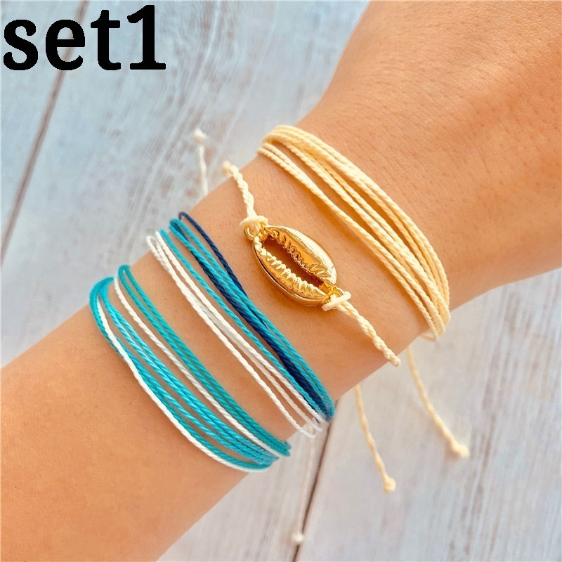 5 Styles Multilayer Bohemian Shell Rope Bracelet Set Adjustable Wave Woven Blue Colorful Cotton Wax String Fashion Jewelry New