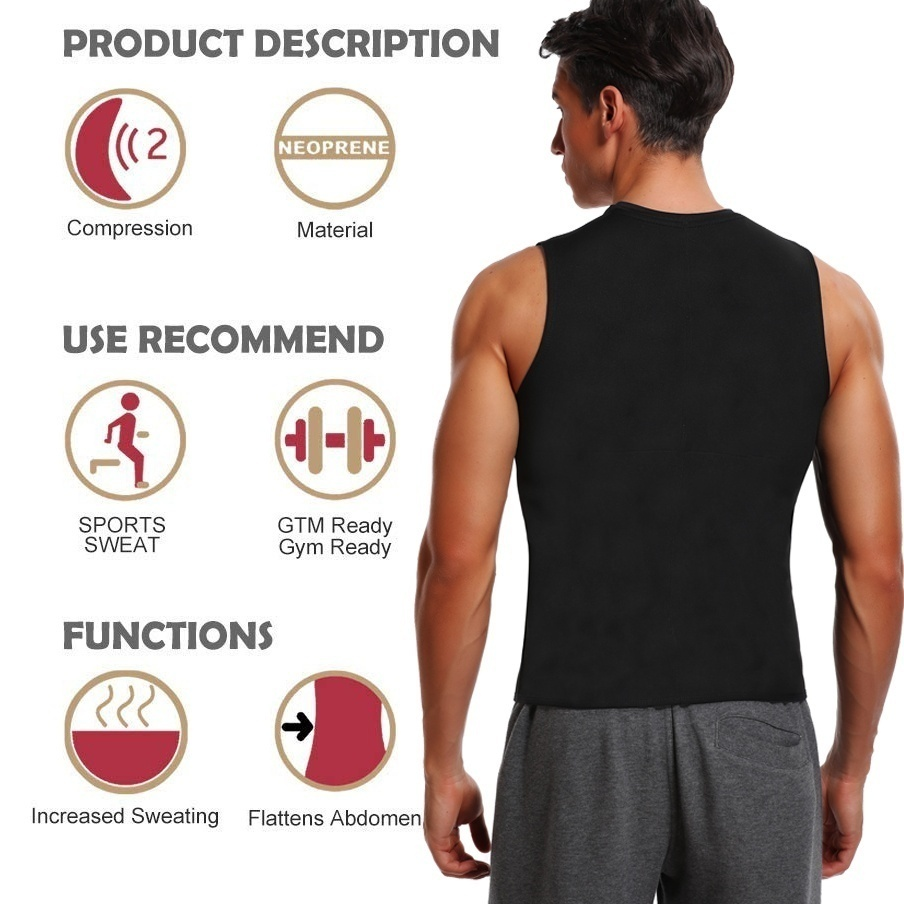 Men Sauna Vest Neoprene Sweat Tank Top Slim Fit T Shirt Weight Lose Premium Workout Body Shaper Shapewear Compression Shirt Thermol Waist Trainer Shirt